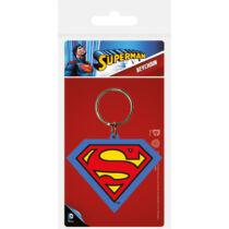Superman logós lapos gumírozott kulcstartó