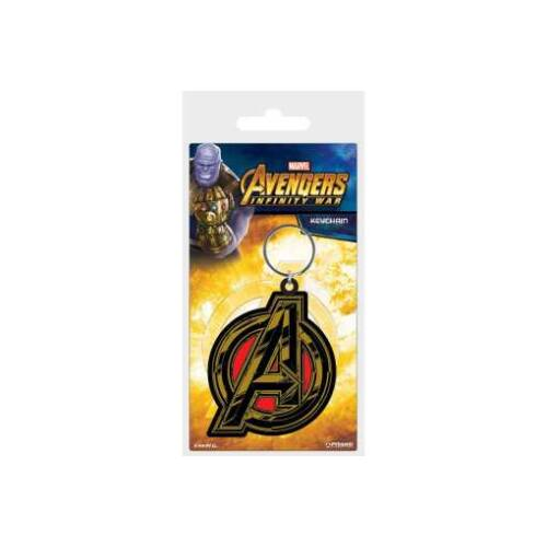 Avengers logós lapos gumírozott kulcstartó